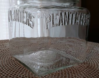 Planter's Peanut glass jar, Vintage Square Planters Peanut Jar, cookie jar