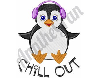Penguin - Machine Embroidery Design, Chill Out