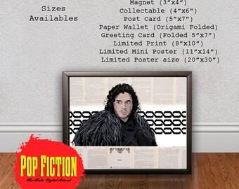 Jon Snow Game of Thrones Print or Original Canvas Original Artwork. Comics, Book, Collectible. Digital Mix-Media Art. Pop Culture.