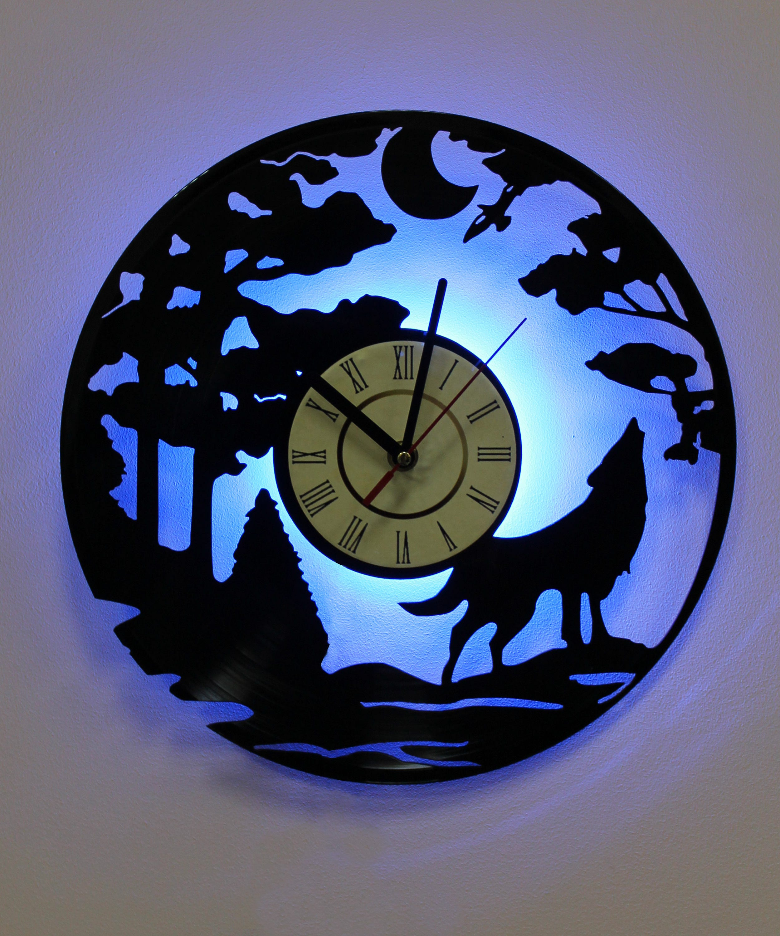Wolf silhouette led lighting wall clock vinyl record night details night light function vintage wall clock amipublicfo Gallery