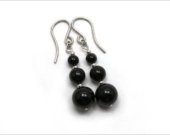Black Onyx Earring - 3 Balls Drop Earrings