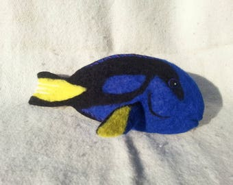 Surgeonfish Regal Blue Tang fish Dory Needle felted MADE TO ORDER ocean regal blue tang dory needle felted wool clownfish