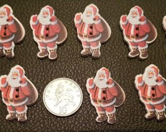 set of 10 wooden santa buttons