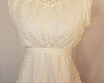 Truely stunning! Vintage Victorian chemise camisole cotton lace  undershirt
