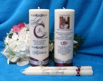 Monogram Scroll Unity Candle Set - Wedding Ceremony Set - Personalized Candles - Photo Wedding Memorial Candle - Unique Unity Set