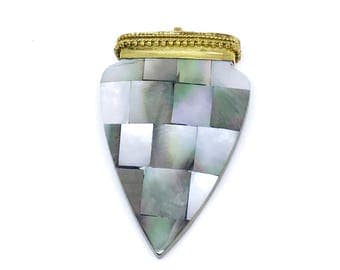 Abalone Shell Pendants With Brass Accent