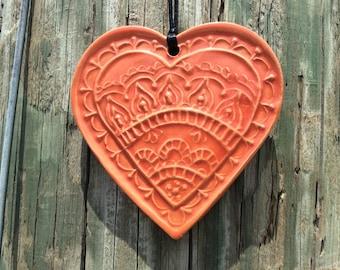 Red Heart Ornament Mandala Design