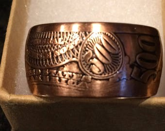 500 dollar copper coin ring made from a one oz coin bought from the mint