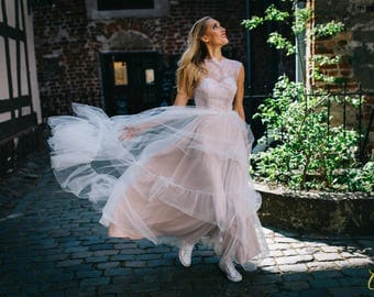 Tulle skirt wedding dress, with lace top, open back, blush wedding dress