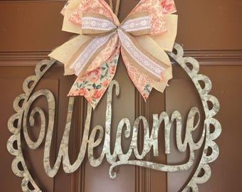 Door hanger. Front door decor. Front door wreath. Welcome wreath. Wreath for front door. Custom wreath. Baby shower present. Wedding present