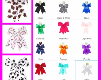 Personalized Custom Cheer Hair Bows Baseball Football Soccer Basketball Solid Colors Cheer Bow Ponytail Holder