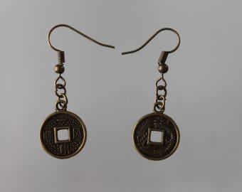 Chinese coin earrings, woman, lucky earrings earrings. good luck earrings. bronze charm