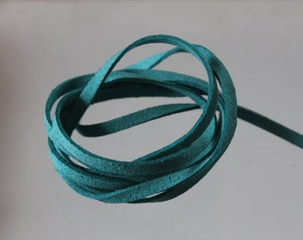 3 m cord Blue Lagoon - width 5 mm - suede cord. flat cord. Jewelry cord
