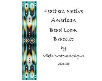 Feathers Native American Bracelet Pattern by VikisCustomDesigns