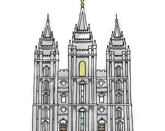 Salt Lake City Temple Watercolor Print