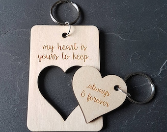Heart keyring, his & hers keyring, couples keyring, wooden keyring, couples gift, anniversary gift, engraved gift, valentines gift