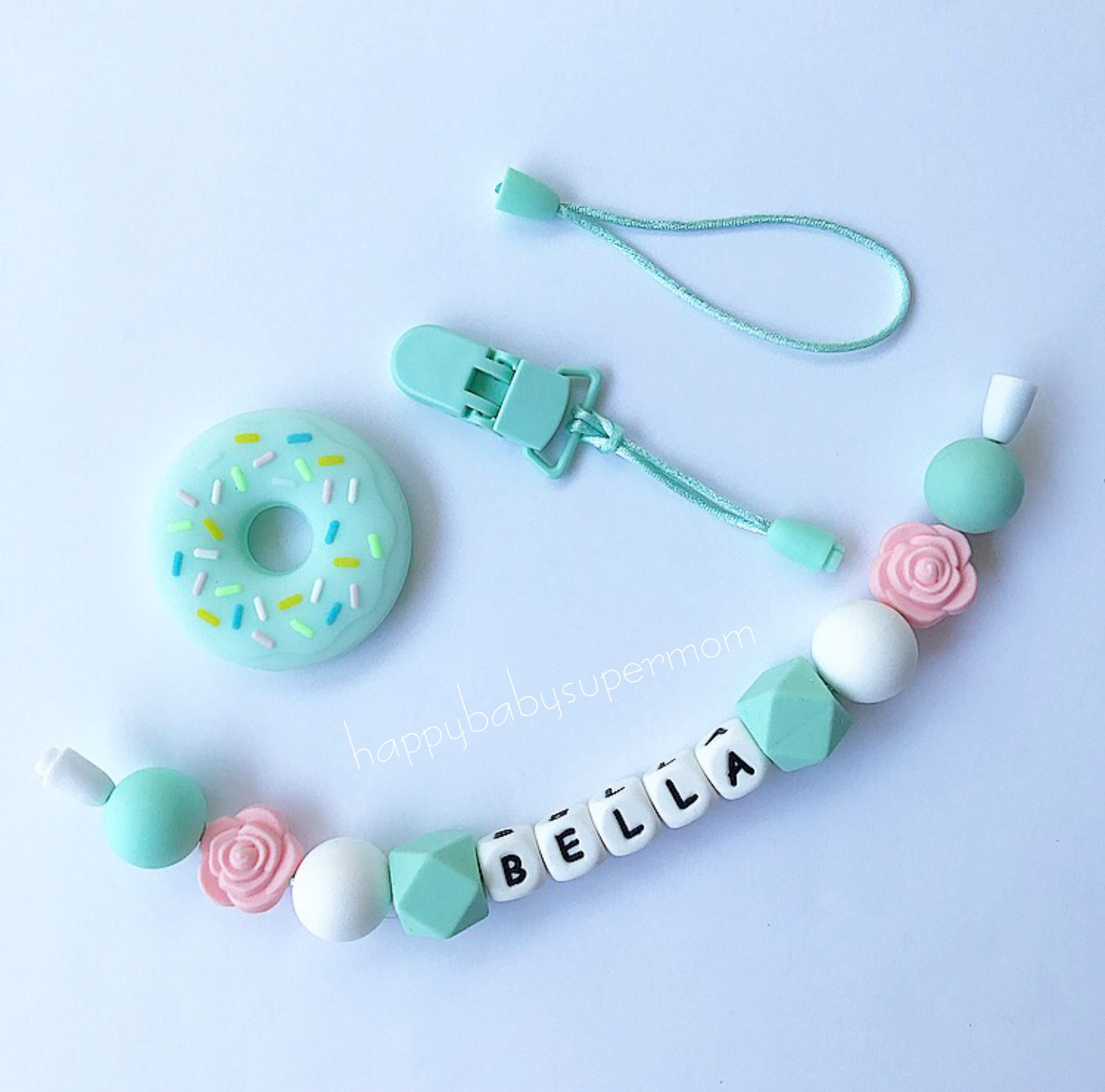 Personalized teether 3in1 silicone pacifier clip teething ring