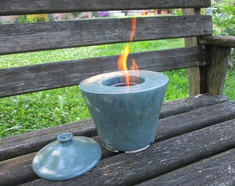 Double-walled shell of fire for bioethanol with ventilation and cover, fire, Garden fire ceramic, approx. 20 x 22 cm