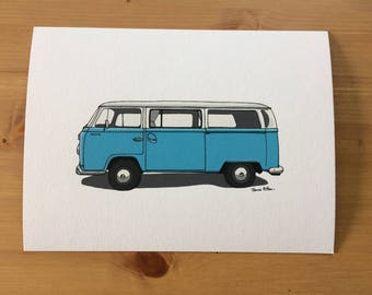 Volkswagen Camper Van Illustrated Print