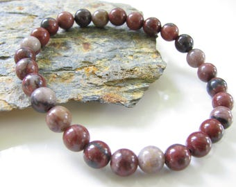 Stretch Gemstone Bracelet - Red Picture Jasper - Yoga Jewelry, Meditation, Healing  - Stackable Bracelets - Ready to Ship