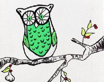 Tiny Owl Painting