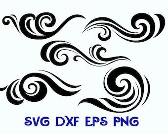 waves svg, waves dxf, water svg, ornament svg, silhouettes svg, sea svg, sea dxf, waves clipart, svg, waves silhouettes, svg shirts, dxf