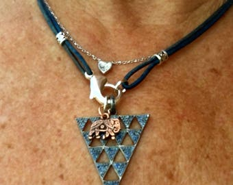 Distressed Blue Leather 2-in-1 Necklace