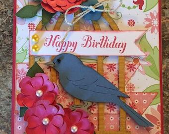 Bird on a birdcage Birthday Card