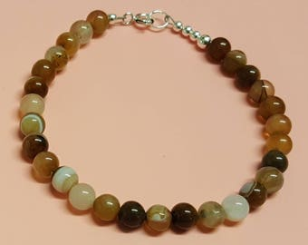 Womens Agate Bracelet, Coffee Lace Agate Bracelet, Agate Jewelry, Sterling Silver Bracelet, Coffee Agate, Agate Beads, Gemstone Beads