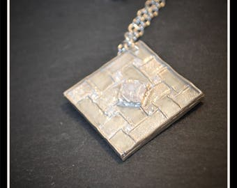 Silver Patchwork Pendant - Silver Precious Metal Clay (PMC), Handmade, Pendant, Necklace - (Product Code: ACM105-17)