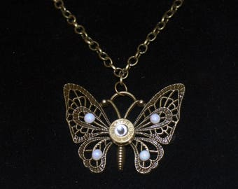 9mm Brass Bullet Shell and Filigree  Butterfly Necklace on a Chain - Gifts for Her - Bullet Jewelry for Women