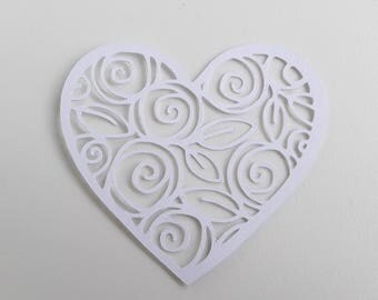Filigree heart white
