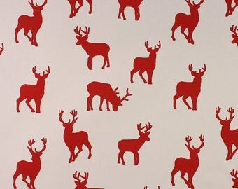 One Metre of Christmas Stags Soft Furnishing Fabric in Red