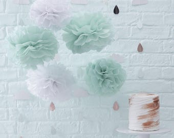 White U0026 Mint Paper Pom Poms, Hello World Decor, Baby Shower Decorations,  White