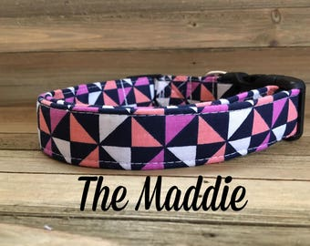 Geometric Purple, Blue, White, and Coral Girl Dog Collar