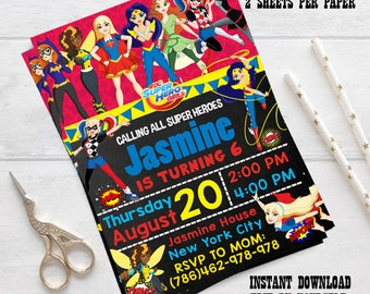 INSTANT DOWNLOAD - Superhero Girl Invitation, Superhero Girl Birthday, Superhero Girl Party, Superhero Girl, editable pdf, editable invite