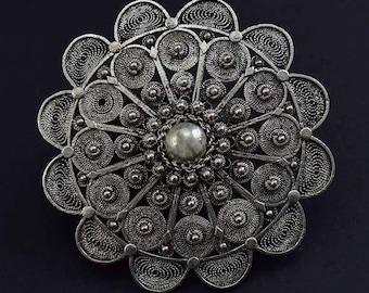 Elegant Sterling Silver Filigree Flower Pin