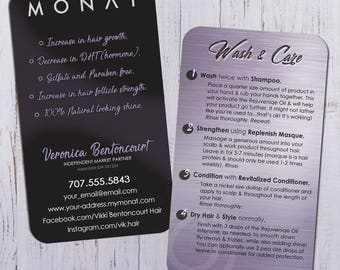 Monat Business Cards Personalized - with Wash Instructions - Durable 16pt - Rich Matte Finish -PRINTED and SHIPPED directly to YOU!