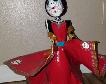 Day of the dead catrina figurine sugar skull doll