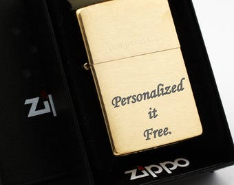 Free Engraving - Windproof Zippo lighter WIth Solid Brass 204 - Perfect for Best Man, Bachelor Party, Groomsmen, Anniversary, boyfriend