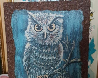 Vintage 1960-1970s Owl Picture Wooden Wall Plaque