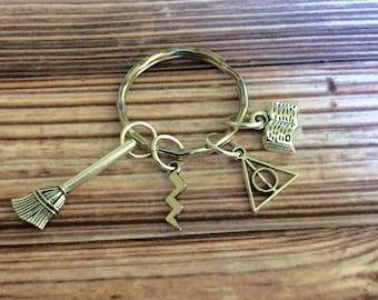 Harry Potter style keychain, Harry Potter keyring, deathly hallows, lightning bolt keyring, Harry Potter gift, Potter inspired accessories