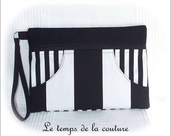 Pouch clutch - black and white tones with wrist strap - handmade.