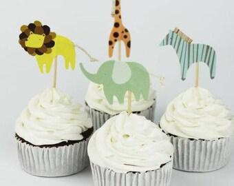 READY TO SHIP Zoo Animal Themed Cupcake Toppers, Animals, Toppers, Picks, Cake Toppers, Cake Topper Pick, Cupcake Picks, Birthday, Baby