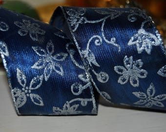 """Wire Edged Midnight Blue and Silver  Wired Ribbon,  1.5"""" wide,  Christmas  craft , ribbon, trim, sewing supplies, cake ribbon, French Ribbon"""