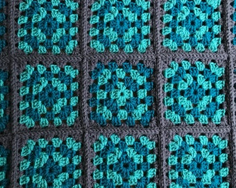 Crochet Granny Square Baby Blanket/Adult Lap Blanket - Blue and Gray - Small Crochet Blanket