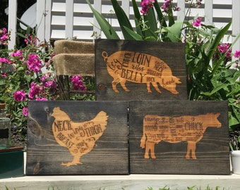 Engraved Cow, Pig, and Chicken Wall Hangings, Kitchen, Farmhouse, Rustic, Engraved