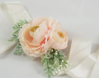 floral wedding sash, satin sash, blush wedding sash, blush wedding belt, ranunculus, greenery wedding sash, vintage bridal sash