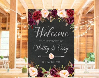 Wedding Welcome Sign Black Chalkboard Marsala Burgundy Floral Boho Rustic Digital Reception Sign Bridal Wedding Welcome Poster WS-024
