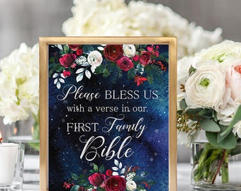 Please bless us Wedding Sign Christmas Winter New Year Snow White Red Burgundy Floral Wedding Printable Decor Gifts Poster Sign 8x10 WS-050